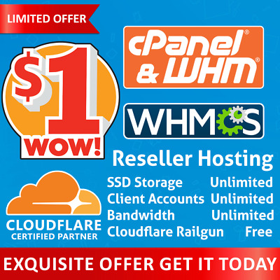 Reseller Hosting Unlimited - CloudLinux - LiteSpeed - Railgun - FREE WHMCS  ✅