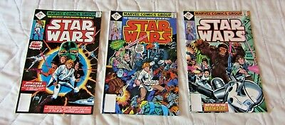 Star wars Comic Books 1,2,3.  marvel comics group .35cents