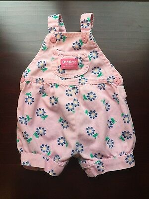 Vintage Floral Osh Kosh Overalls Daisy Pink Made In USA GIRL 12 MONTHS