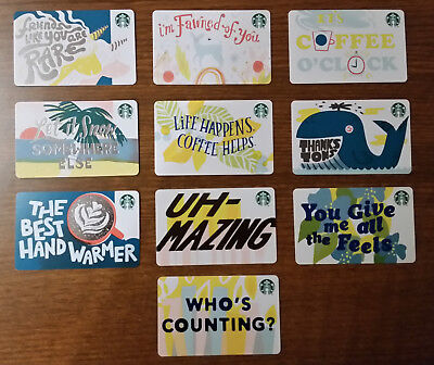 *NEW* 2019 Starbucks Recycled Paper Gift Cards - Complete Set of 10