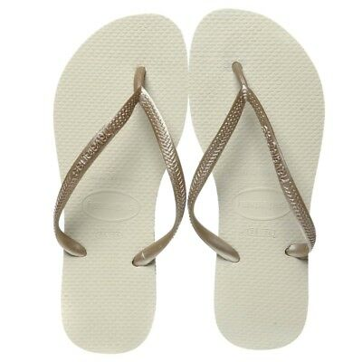 New Havaianas Sand, Grey & Light Golden Slim Thongs By OZSALE