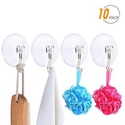 Suction Cup Hooks, SUNDOKI 10 Pack Vacuum Kitchen Towel Hooks Wreath Hangers for
