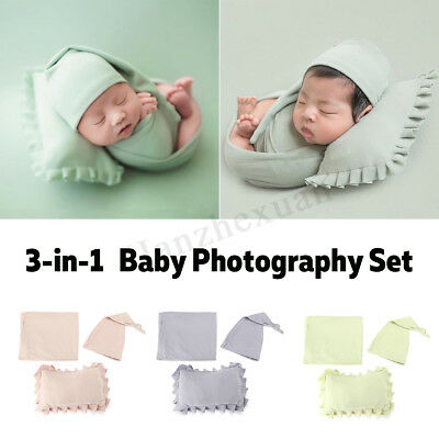3Sets Newborn Baby Girls Boys Photo Photography Pillow Props Outfits Posing Hat