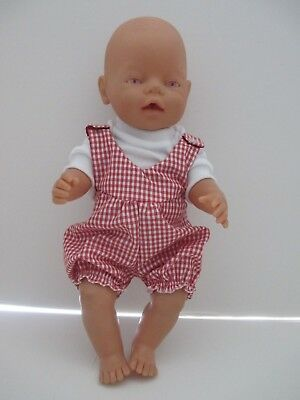 Overall & T Shirt set suitable Baby Born - Doll Red Gingham