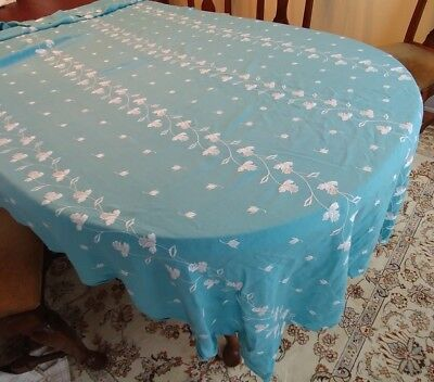 "Vintage Turquoise Teal Tablecloth 96"" x 54""  All Over White Floral Embroidery"
