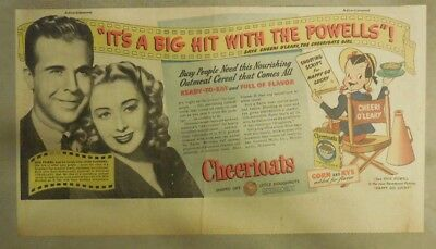 Cheerios Cereal: Dick Powell Joan Blondell from 1930's-1940's 7.5 x 15 inches