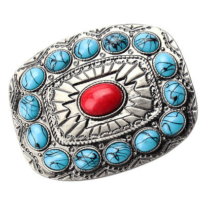 ✖ HQ NATIVE AMERICAN copper turquoise Cowboy Rodeo Style Belt Buckle Heritage US