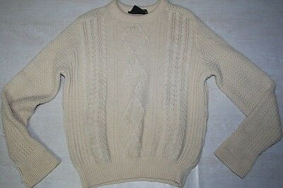 Vintage Barbour Jumper Sweater Wool Crew Neck Cable Chunky White Hunting M L