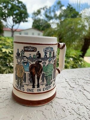 """Vintage BEER Mug """"There's ONE IN Every BAR"""" Coffee CUP TILSO Hand Painted Japan"""