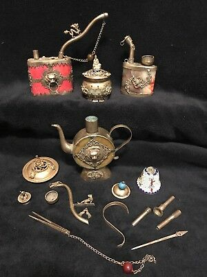 Antique Chinese Asian Stone, Silver Smoking Tobacco Water Pipe Collection