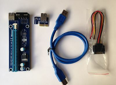 4-pin USB3.0 1x to16x Extender Riser Card Adapter SATA Power Cable PCI-E Express