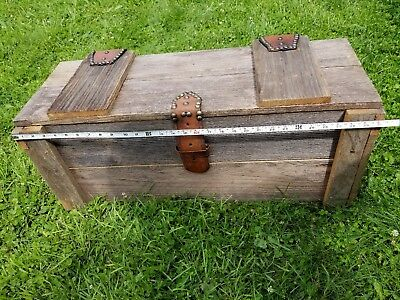 Old Handmade Trunk, Wood Box, Chest,  Leather/Metal  HARDWARE