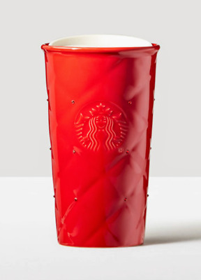 Starbucks Red Quilted Double Wall Traveler adorned with Swarovski® crystals