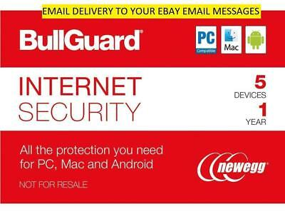 Bullguard Internet Security 5 devices 1 year Email delivery PC, MAC, Android