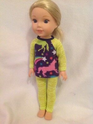 """Wellie Wishers Lime Unicorn Top Leggings American Girl 14"""" doll clothes outfit"""