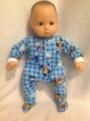 "15"" Bitty Baby Disney Mickey Mouse sleeper pajamas twins boy Doll Clothes outfit"
