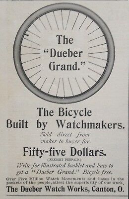 "1898 Ad(1800-37)~The Dueber Watch Works, Canton, O. The ""dueber Grand"" Bicycle"