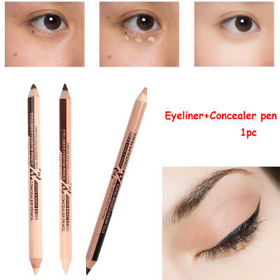 2 in 1 Eyeliner Eyebrow+Concealer pen Waterproof Double Ended Eye Makeup Tool