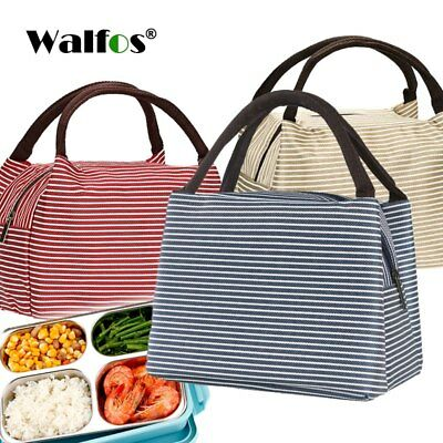 Portable thermal Lunch Bag Canvas Stripe Insulated Cooler Bags Picnic Lunch Bags