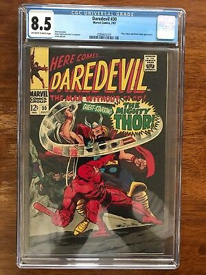 DAREDEVIL # 30 CGC 8.5 VF+ w/ Excellent Spine !! Solid Unblemished Black Cover !