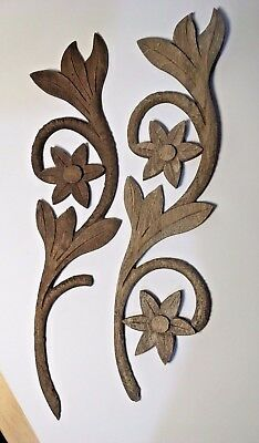 Pair Of Antique Carved Wood Appliqués, Oak, Leaf With Flowers  Lot of 2