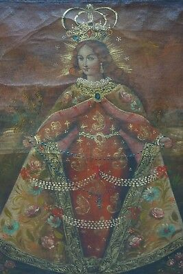 Very Beautiful Oil On Canvas Painting - Icon Archangel Interest - Very Rare L@@k