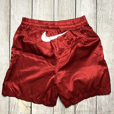 Vintage Nike Red Embroidered Swoosh Nylon Shorts Mens Small