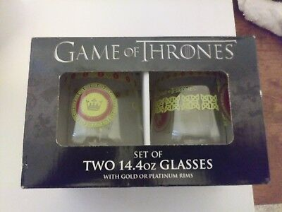Game of Thrones Glass Set of Two collectible glasses new in box