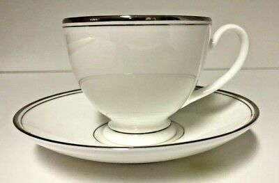 New -  Waterford Fine China - Kilbarry Platinum Footed Tea Cup & Saucer
