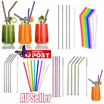 Reusable Rainbow Stainless Steel Metal Drinking Straw Straws & Cleaning Brush RT