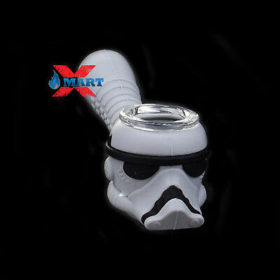 "Star Wars Grey Storm Trooper 4"" Silicone Hand Pipe Tobacco w/ Glass Bowl"