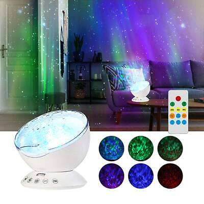 Relaxing Ocean Wave Music LED Light Projector Remote Lamp Hypnotic Music UK