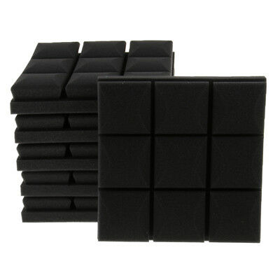 6 Pcs Acoustic Foam Sound Proofing Isolation Panels for Home Studio Black