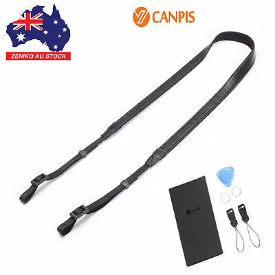 AU CANPIS Black Universal Adjustable Leather Shoulder Neck Strap For DSLR camera