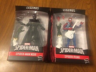 "Marvel Legends 6"" Spider-Man Noir & Spider-Punk Set with Lizard BAF Hasbro New"