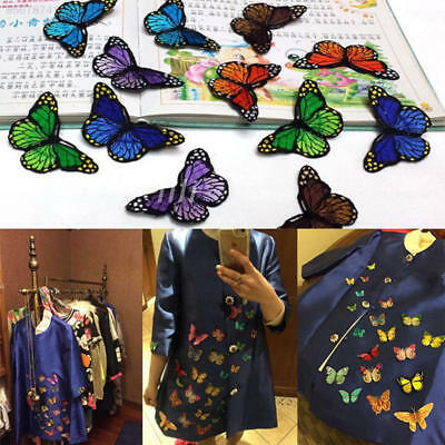 B80C 10pcs Butterfly Patch Patches Embroidery Iron On Embroidered Applique DIY
