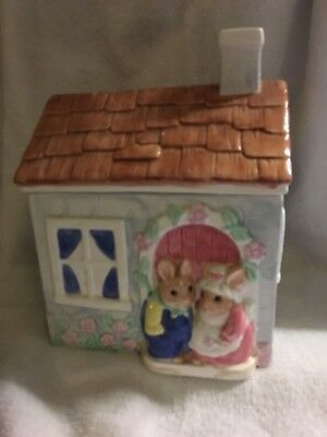"""Rabbit Couple's Home so Detailed Cookie Jar & Lid..8"""" W-10"""" H"""