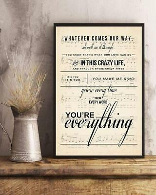 Michael Buble Everything Lyrics Poster 11-36 Inches Poster Without Frame