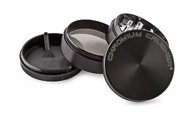 Chromium Crusher 2.2 Inch 4 Piece Tobacco Spice Herb Grinder - Black