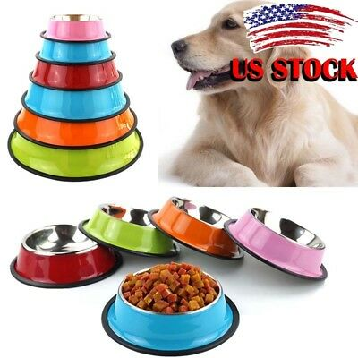 US Anti-Skid Stainless Steel Pet Dog Cat Water Food Feeder Feed Water Bowl Dish