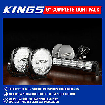 "Kings 9"" Driving Light Set Work Spot With Harness+ 22"" LED Light Bar Offroad"