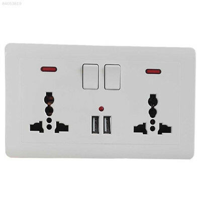 95C5 Double Wall Plug Socket 2 Gang 13A 2 USB Charger Port Outlets White Plate