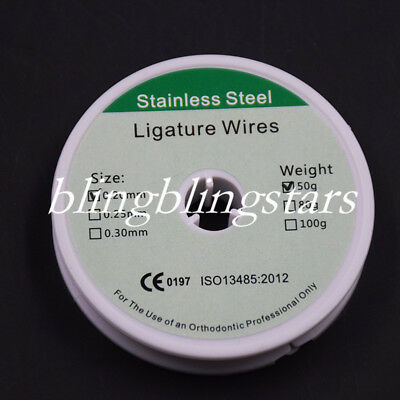 1 Roll Dental Orthodontic Ligature Wire Stainless Steel Line 50g 0.2mm