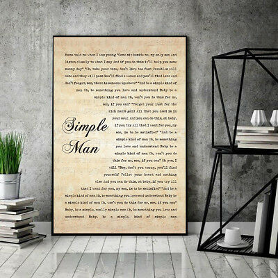 """Lynyrd Skynyrd Simple Man Lyrics Baby Be A Simple Poster 11-36"""" Without Frame"""