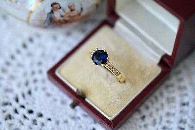 Antique Art Deco Jewellery Gold Ring Dark Blue white Sapphires Vintage Jewelry