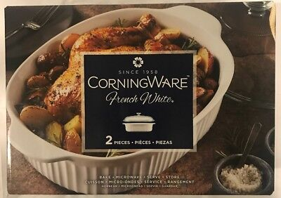 Corning Ware Casserole Oval Roaster 4qt French White With Glass Cover, New