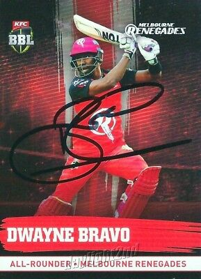 ✺Signed✺ 2016 2017 MELBOURNE RENEGADES Cricket Card DWAYNE BRAVO Big Bash League