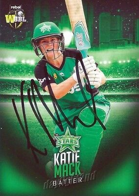 ✺Signed✺ 2017 2018 MELBOURNE STARS Cricket Card KATIE MACK Big Bash League