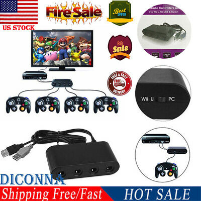 US 4 Port NGC Controller Adapter For Nintendo Wii U & Switch and PC USB