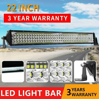 22Inch Slim LED Light Bar 5Rows Flood Spot Driving Offroad Truck 4WD Pure White